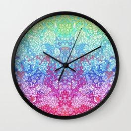 Fantasy Garden Rainbow Doodle Wall Clock
