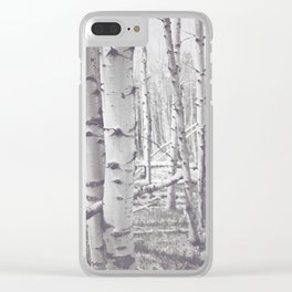 Black and White Aspens Clear iPhone Case