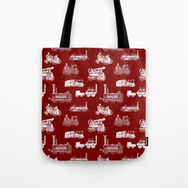 Antique Steam Engines // Burgundy Tote Bag