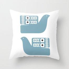 Blue Birds // Scandinavian birds // Folk Art Birds // Mid Century Birds Throw Pillow