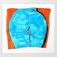 butt Art Prints featuring blue butt by withapencilinhand