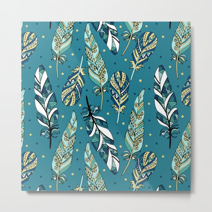 Blue feathers Metal Print