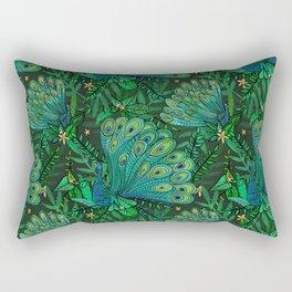 Peacocks in Emerald Forest Rectangular Pillow