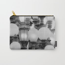 Urban Light at LACMA Los Angeles California USA in black and white Carry-All Pouch