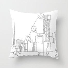 Melbourne Skyline Behind Festival Lights Throw Pillow