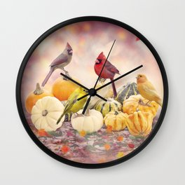 Fall colorful background with birds and pumpkins Wall Clock