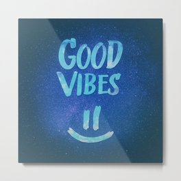 Good Vibes - Funny Smiley Statement / Happy Face (Blue Stars Edit) Metal Print