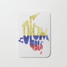 Colombia Typographic World Map / Colombia Typography Flag Map Art Bath Mat