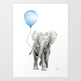 Baby Animal Elephant Watercolor Blue Balloon Baby Boy Nursery Room Decor Art Print