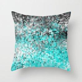 Aqua Gray Pixels Throw Pillow