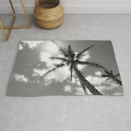 Tropical Palm Trees Black and White Rug