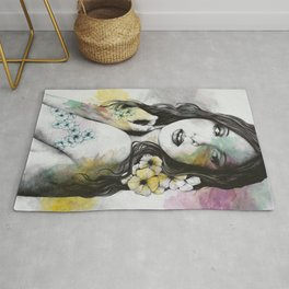 Shame On You (flowers tattoo nude lady portrait) Rug