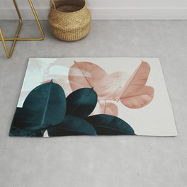 Blush & Blue Leaves Rug