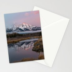 Snowy Pink Sunrise in the Tetons Stationery Cards
