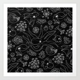 Cephalopods - Black and White Art Print