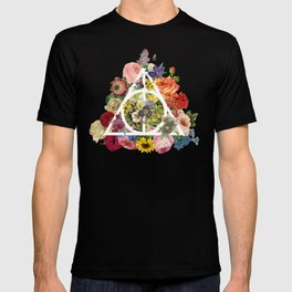 Floral Deathly Hallows - White T-shirt