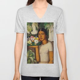 Mujer con Fiores (Bell Flowers, Dahlia & Calla Lilies) by Alfredo Martinez Unisex V-Neck