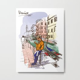 Sketches from Italy - Venice 02 Metal Print