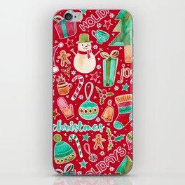 Merry Christmas watercolor iPhone Skin