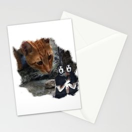 cat with pantomime confused Stationery Cards