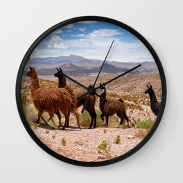 Downhill Llamas Wall Clock