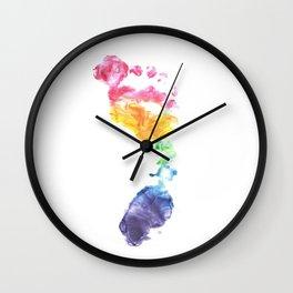 Rainbow Footprint Wall Clock