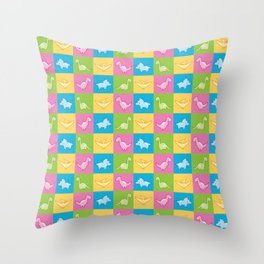 Colorful dinosaurs and pterodactyl cheater quilt Throw Pillow