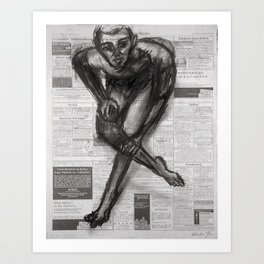 Knowledge Applied - Charcoal on Newspaper Art Print