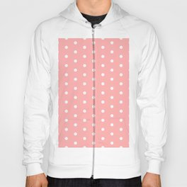 Polka dot pattern, classic pink, dotted, retro style design, white points circles, vintage pin-up Hoody