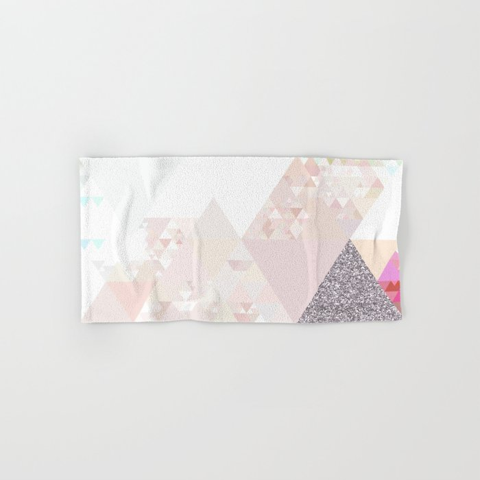Triangles in glittering Rose quartz - pink glitter triangle pattern Hand & Bath Towel