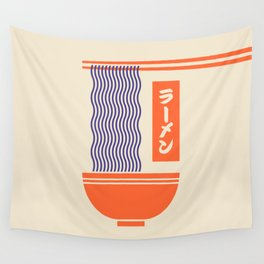 Ramen Japanese Food Noodle Bowl Chopsticks - Cream Wall Tapestry