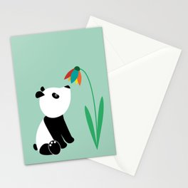 Sweet panda and flower Stationery Cards