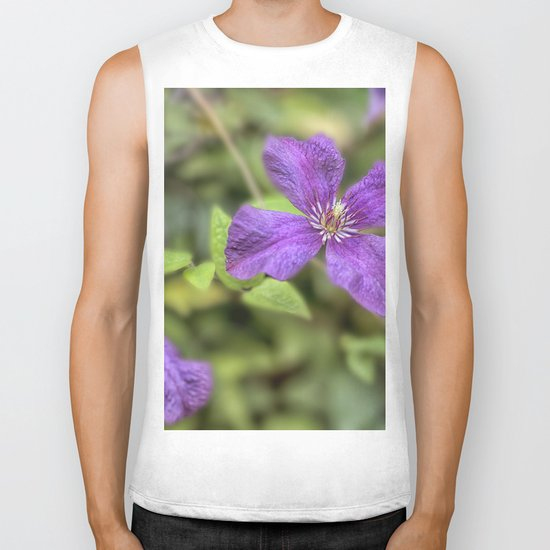 purple Clematis flower Biker Tank
