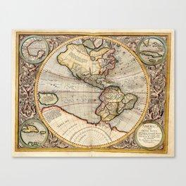 Vintage Map of The Western Hemisphere (1596) Canvas Print