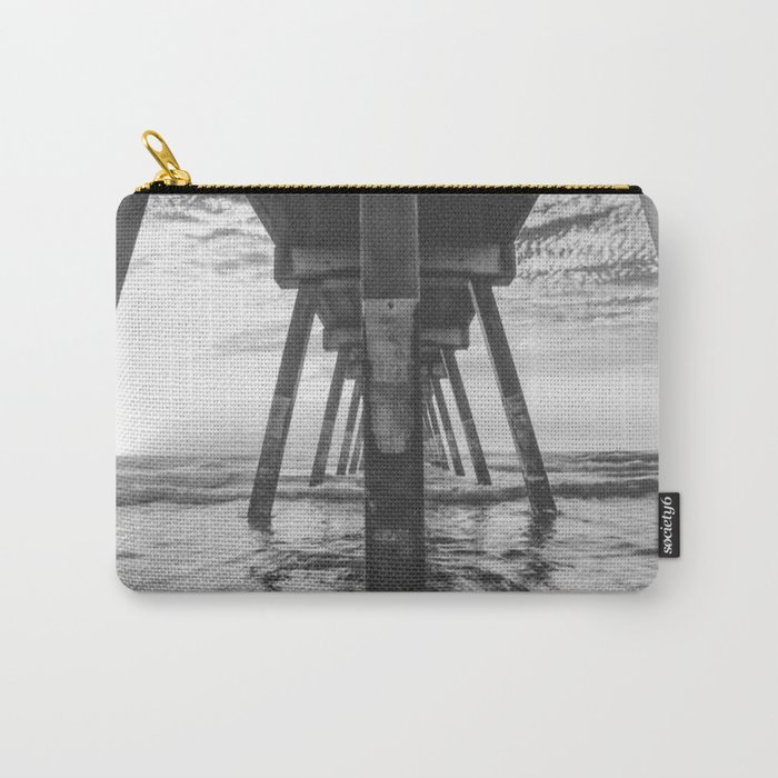 Beautiful Sunset Ocean Beach Scene (Black and White) Carry-All Pouch