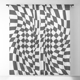 Black and White Twisted Checkerboard – Warped Pattern Decor Sheer Curtain