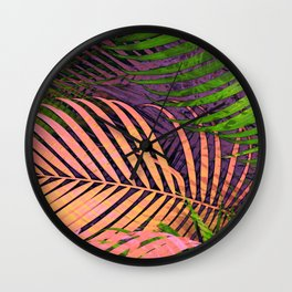 TROPICAL COLORFUL POPPY LEAVES Wall Clock