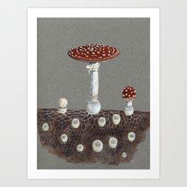 Mushroom folk Art Print