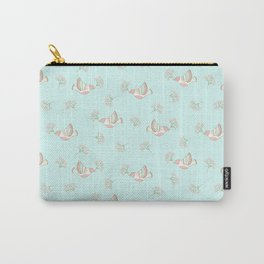 Christmas birds - Bird pattern on turquoise background Carry-All Pouch