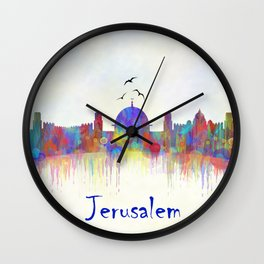 Watercolor Jerusalem City Skyline Wall Clock