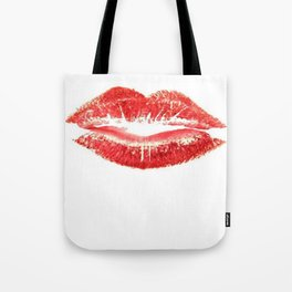 Beautiful Red Kiss Isolated Tote Bag