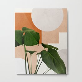 Mid century abstract tropical monstera leaf Metal Print