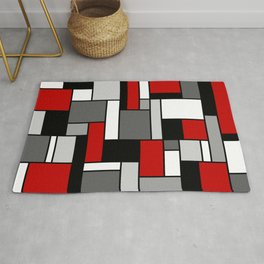Mid Century Modern Color Blocks in Red, Gray, Black and White Rug