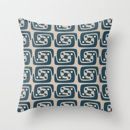 Mid Century Modern Galaxy Pattern Peacock Blue and Beige Throw Pillow