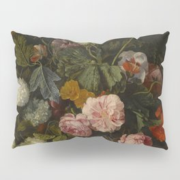 """Cornelis Kick """"A still life with parrot tulips, poppies, roses, snow balls, and other flowers"""" Pillow Sham"""