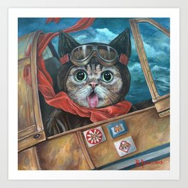 Lil Bub Takes Flight, cute cat art, oil painting portrait, flying plane in sky, kitty, kitten Art Print