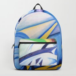 Galloping Blue Horses After the Rain Storm portrait painting by Devileux Backpack