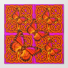 ORANGE MONARCH BUTTERFLIES CELTIC ART VIOLET COLOR Canvas Print