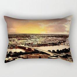 Downtown Portland Oregon Bridge View Rectangular Pillow
