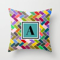 monogram Throw Pillows featuring  A Monogram by mailboxdisco